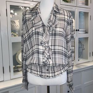 Jones New York 100% Silk Plaid Ruffle Top